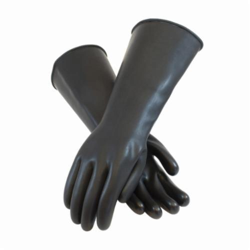 Assurance® 47442 Heavy Duty Chemical Resistant Gloves, Natural Rubber Latex, Black, Unlined Lining, 17 in L, Resists: Abrasion, Cut, Puncture and Tear, Unsupported Support, Beaded Rolled Cuff, 44 mil THK, Hand Specific Hand