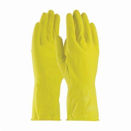 Assurance® 48140Y Lightweight Chemical Resistant Gloves, Cotton/Natural Rubber Latex, Yellow, Flock Lined Lining, 12 in L, Resists: Abrasion, Acid, Alcohol, Alkaline, Caustic, Grease, Ketone, Liquid, Salt and Tear, Unsupported Support, 14 mil THK