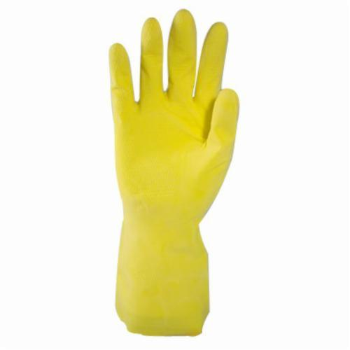 Assurance® 48160Y Lightweight Chemical Resistant Gloves, Natural Rubber Latex, Yellow, Flock Lined Lining, 12 in L, Resists: Acid, Alkalis, Alcohol, Animal Fat, Ketone and Salt, Unsupported Support, Straight Cuff, 16 mil THK, Hand Specific Hand