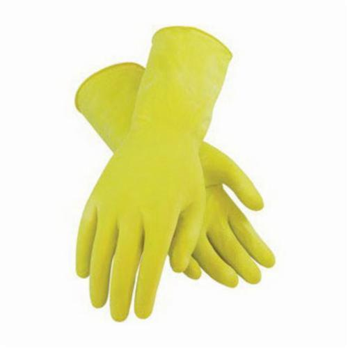 Assurance® 48162Y Chemical Resistant Gloves, Natural Rubber Latex, Yellow, Flock Lined Lining, 12 in L, Resists: Acid, Alkalis, Alcohol, Animal Fat, Ketone and Salt, Unsupported Support, Rolled Cuff, 16 mil THK, Hand Specific Hand