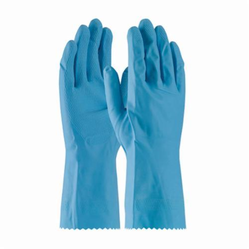 Assurance® 48185B Medium Weight Chemical Resistant Gloves, Cotton/Natural Latex Rubber, Blue, Flock Lined Lining, 12 in L, Resists: Snag and Tear, Unsupported Support, Pinked Cuff, 18 mil THK, Hand Specific Hand