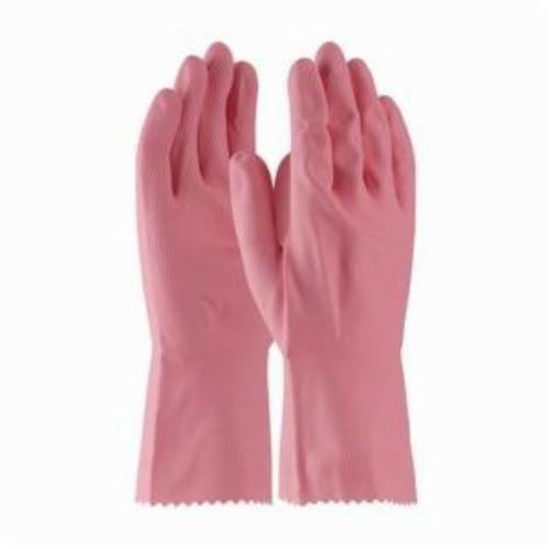Assurance® 48185P Medium Weight Chemical Resistant Gloves, Cotton/Natural Rubber Latex, Pink, Flock Lined Lining, 12 in L, Resists: Snag and Tear, Unsupported Support, Pinked Cuff, 18 mil THK, Hand Specific Hand
