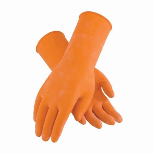 Assurance® 48185T Medium Weight Chemical Resistant Gloves, Cotton/Natural Latex Rubber, Orange, Flock Lined Lining, 12 in L, Resists: Snag and Tear, Unsupported Support, Beaded Rolled Cuff, 18 mil THK, Hand Specific Hand
