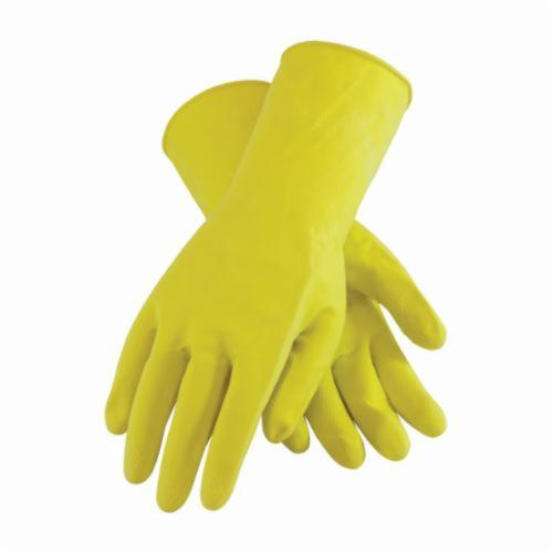 Assurance® 48185Y Medium Weight Chemical Resistant Gloves, Cotton/Natural Latex Rubber, Yellow, Flock Lined Lining, 12 in L, Resists: Chemical and Tear, Unsupported Support, Beaded Rolled Cuff, 18 mil THK, Hand Specific Hand