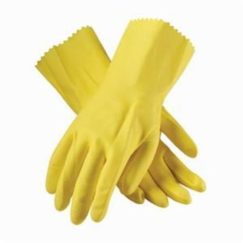 Assurance® 48187Y Medium Weight Chemical Resistant Gloves, Cotton/Natural Latex Rubber, Yellow, Flock Lined Lining, 12 in L, Resists: Chemical and Tear, Unsupported Support, Pinked Cuff, 18 mil THK, Hand Specific Hand