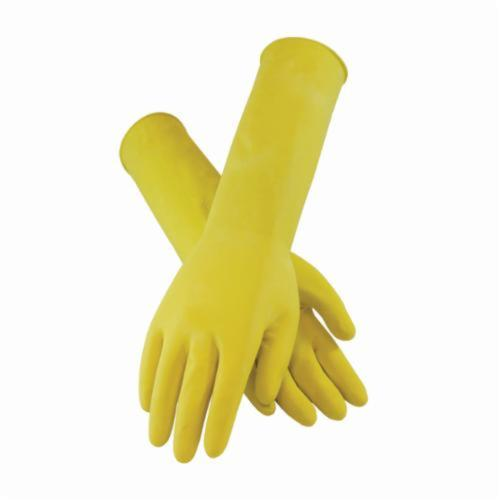 Assurance® 482125Y Chemical Resistant Gloves, Cotton/Natural Rubber Latex, Yellow, Flock Lined Lining, 15 in L, Resists: Abrasion, Acid, Alcohol, Alkaline, Caustic, Grease, Ketone, Liquid, Salt and Tear, Unsupported Support, Beaded Rolled Cuff