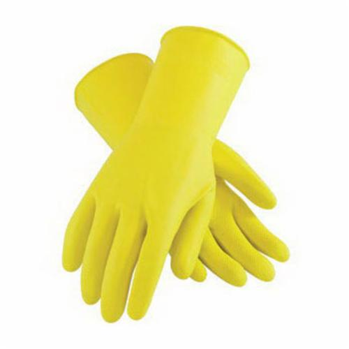 Assurance® 48212Y Chemical Resistant Gloves, Cotton/Natural Rubber Latex, Yellow, Flock Lined Lining, 11.8 in L, Resists: Acid, Alkalis, Alcohol, Animal Fat, Ketone and Salt, Unsupported Support, Beaded Rolled Cuff, 11.8 mil THK, Hand Specific Hand