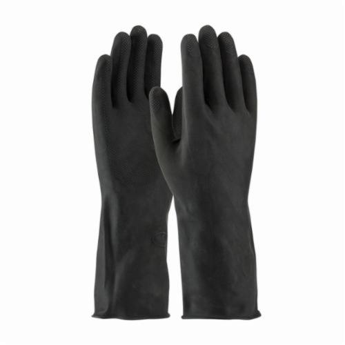 Assurance® 48300K Heavy Duty Chemical Resistant Gloves, Cotton/Natural Rubber Latex, Black, Flock Lined Lining, 13 in L, Resists: Abrasion, Acid, Alcohol, Alkaline, Caustic, Grease, Ketone, Liquid, Salt and Tear, Unsupported Support, Straight Cuff