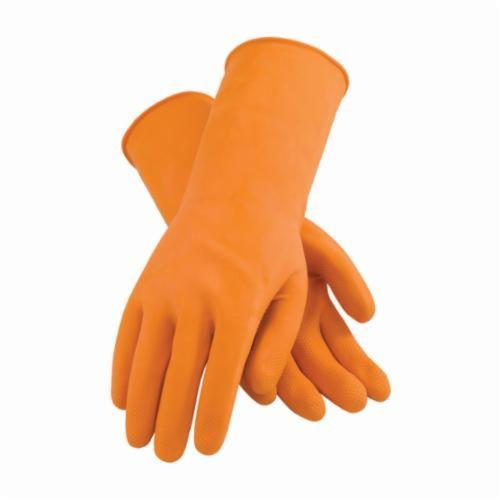 Assurance® 48302T Heavy Duty Chemical Resistant Gloves, Cotton/Natural Rubber Latex, Orange, Flock Lined Lining, 13 in L, Resists: Abrasion, Acid, Alcohol, Alkaline, Caustic, Grease, Ketone, Liquid, Salt and Tear, Unsupported Support, 28 mil THK
