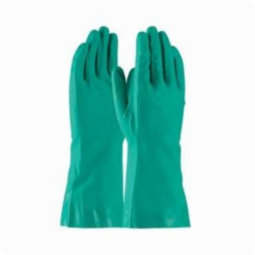 Assurance® 50-N150G Medium Weight Chemical Resistant Gloves, Nitrile, Green, Flock Lined Lining, 13 in L, Resists: Abrasion, Cut, Puncture and Tear, Unsupported Support, Straight Cuff, 15 mil THK, Hand Specific Hand