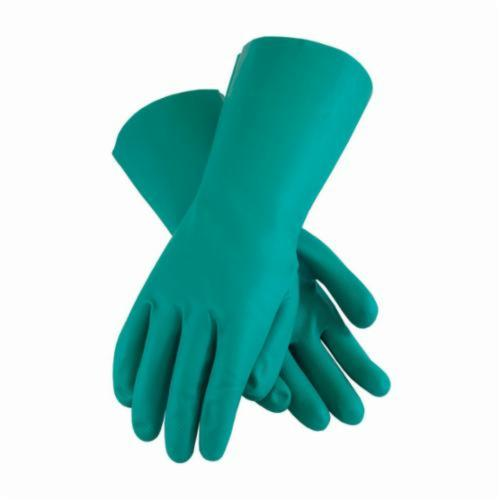 Assurance® 50-N160G Medium Weight Chemical Resistant Gloves, Nitrile, Green, Flock Lined Lining, 13 in L, Resists: Abrasion, Cut, Chemical and Puncture, Unsupported Support, Straight Cuff, 15 mil THK, Hand Specific Hand