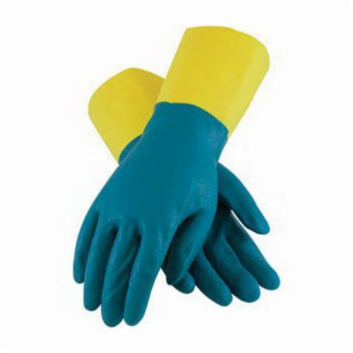 Assurance® 52-3670 Double Dipped Chemical Resistant Gloves, Neoprene/Natural Rubber Latex, Blue/Yellow, Flock Lined Lining, 12 in L, Resists: Abrasion, Acid, Chemical, Caustic, Cut, Oil and Puncture, Unsupported Support, Straight Cuff, 28 mil THK