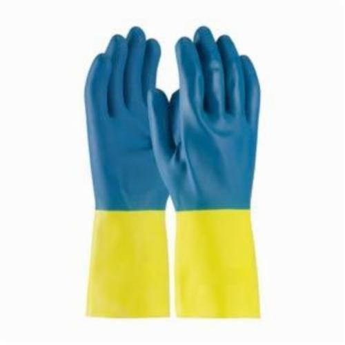 Assurance® 52-3671 Double Dipped Chemical Resistant Gloves, Latex/Neoprene, Blue/Yellow, Flock Lined Lining, 12 in L, Resists: Abrasion, Cut, Puncture and Tear, Unsupported Support, Straight Cuff, 28 mil THK, Hand Specific Hand