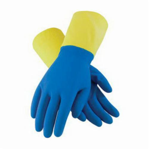 Assurance® 52-3672 Double Dipped Chemical Resistant Gloves, Natural Rubber Latex, Blue/Yellow, Flock Lined Lining, 12.6 in L, Resists: Abrasion, Acid, Caustic, Cut, Oil, Puncture, Solvent and Tear, Unsupported Support, Straight Cuff, 19 mil THK