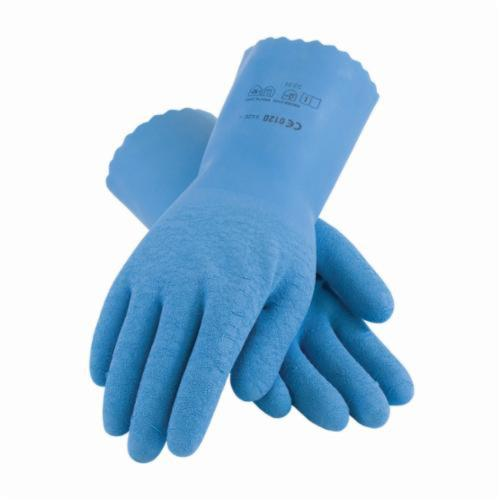 Assurance® 55-1635 Chemical Resistant Gloves, Latex, Blue, Nylon Lining, 11.8 in L, Resists: Abrasion, Cut, Puncture and Tear, Supported Support, Pinked Cuff, 11.8 mil THK, Hand Specific Hand
