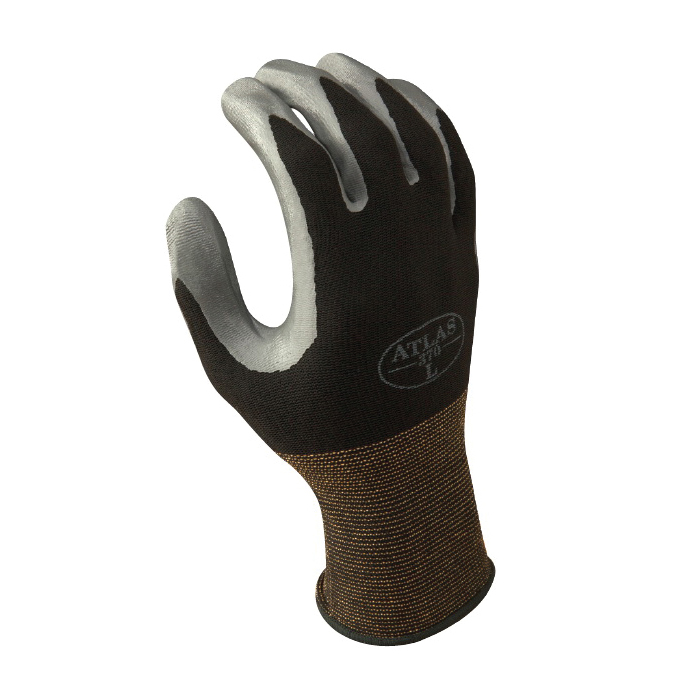 Atlas® by Showa Best 370BL-08 General Purpose Gloves, Coated Palm, L/SZ 8, Nitrile Palm, Polyester, Black/Dark Gray, Elastic/Knit Wrist Cuff, Nitrile Coating, Resists: Abrasion and Oil, Seamless Knit Lining