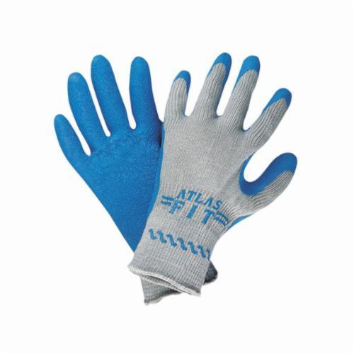 Atlas® by Showa Best 300 Lightweight General Purpose Gloves, Coated, Natural Rubber Latex Palm, Cotton/Polyester, Blue/Gray, Elastic Knit Wrist Cuff, Natural Rubber Latex Coating, Resists: Abrasion, Cut, Puncture and Tear, Seamless Knit Lining