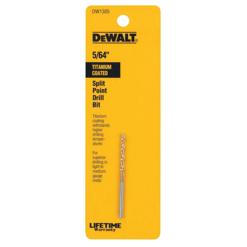 Black+Decker® Guaranteed Tough® Speed Tip™ DW1305 Heavy Duty Jobber Length Drill, 5/64 in Drill - Fraction, 0.0781 in Drill - Decimal Inch, 135 deg Point, HSS, Titanium Coated