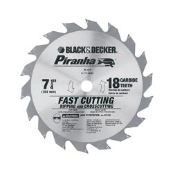 Black+Decker® Piranha® 67-717 Conventional Circular Saw Blade, 7-1/4 in Dia, 5/8 in Arbor, 18 ATB Teeth, Tungsten Carbide Cutting Edge