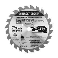 Black+Decker® Piranha® 67-737 Conventional Circular Saw Blade, 7-1/4 in Dia x 0.047 in THK, 5/8 in Arbor, Steel Blade, 24 Teeth