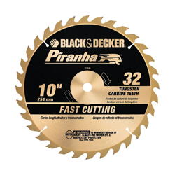 Black+Decker® Piranha® 77-740 Combination Circular Saw Blade, 10 in Dia x 0.063 in THK, 5/8 in Arbor, Steel Blade, 32 Teeth