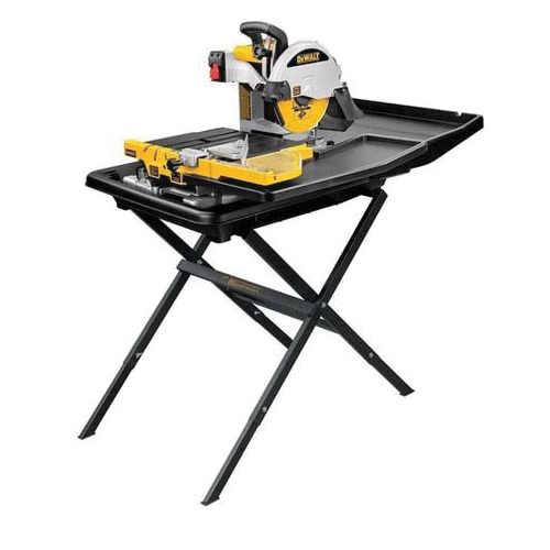 DeWALT® D24000S Wet/Dry Tile Saw With Folding Stand, 10 in Dia x 0.6 in THK Blade, 3-1/8 in Cutting