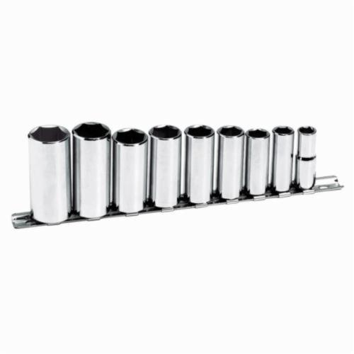 Stanley® 3809-DS Deep Socket Set, Imperial, 9 Pieces, Full Polished
