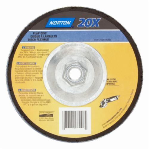 Norton® BlueFire® 20X™ 07660703213 R884P High Performance Coated Abrasive Flap Disc, 4-1/2 in Dia, 80 Grit, Medium Grade, Zirconia Alumina Abrasive, Type 29/Conical Disc