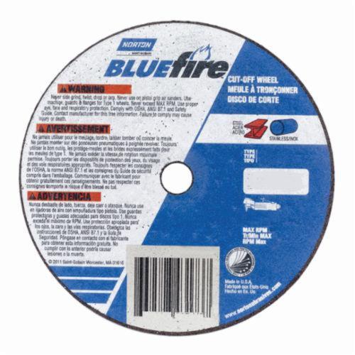 Norton® BlueFire® RightCut™ 66252843221 RightCut™ Type 27/42 Depressed Center Cut-Off Wheel, 6 in Dia x 0.045 in THK, 7/8 in Center Hole, 24 Grit, Zirconia Alumina Abrasive