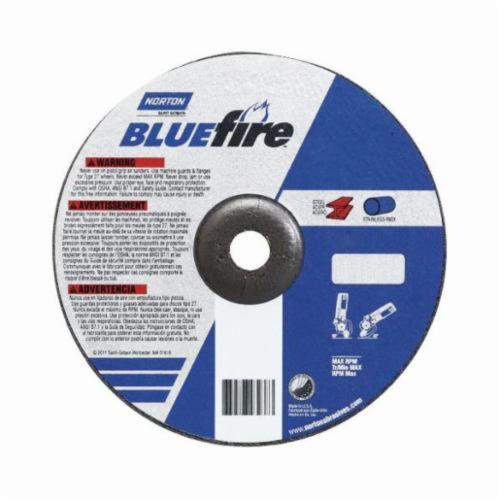Norton® BlueFire® 66252843176 Depressed Center Wheel, 4 in Dia x 1/8 in THK, 5/8 in Center Hole, 24 Grit, Zirconia Alumina Abrasive