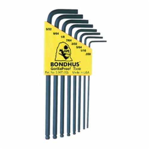 Bondhus® 10932 Long Key Set, 8 Pieces, 0.05 to 5/32 in Hex, L-Handle Handle Handle, Protanium® High Torque Steel, ProGuard™