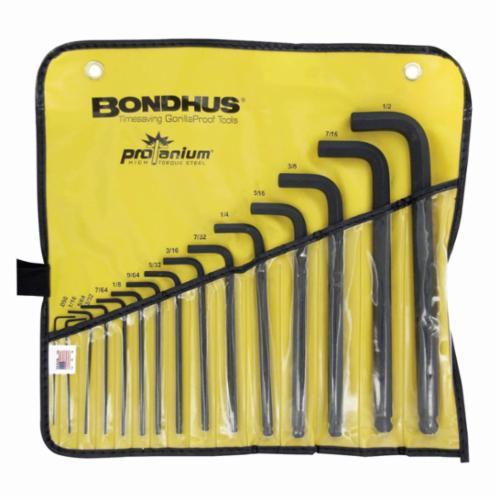Bondhus® 10935 Long Key Set, 15 Pieces, 0.05 to 1/2 in Hex, L-Handle Handle Handle, Protanium® High Torque Steel, ProGuard™