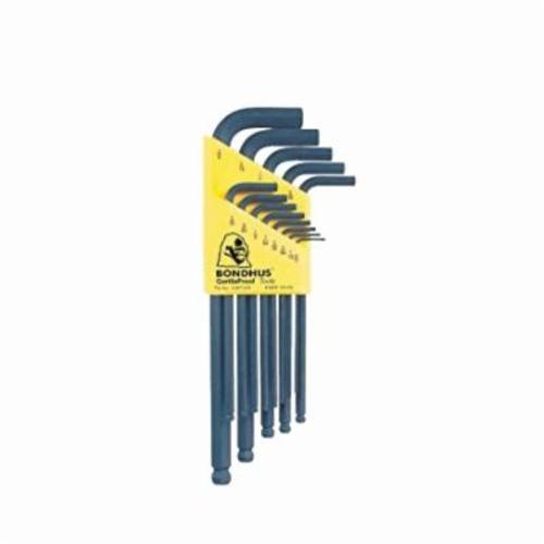 Bondhus® 10936 Long Key Set, 12 Pieces, 0.05 to 0.3125 in Hex, L-Handle Handle, Protanium® High Torque Steel, ProGuard™