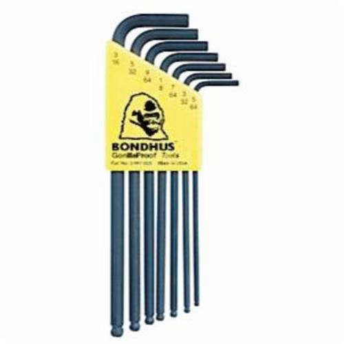 Bondhus® 10945 Long Key Set, 7 Pieces, 5/64 to 3/16 in Hex, L-Handle Handle Handle, Protanium® High Torque Steel, ProGuard™