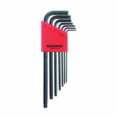 Bondhus® 10992 Long Key Set, 7 Pieces, 1.5 to 6 mm Hex, L-Handle Handle Handle, Protanium® High Torque Steel, ProGuard™