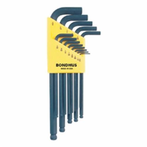 Bondhus® 10937 Long Key Set, 13 Pieces, 0.05 to 3/8 in Hex, L-Handle Handle Handle, Protanium® High Torque Steel, ProGuard™