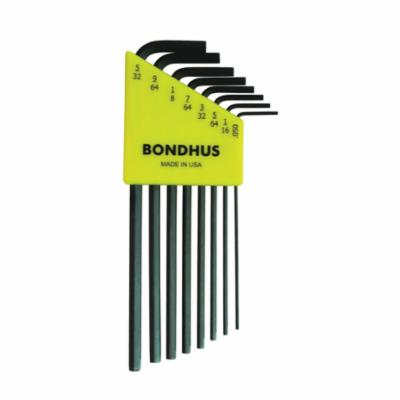 Bondhus® 12132 Long Key Set, 8 Pieces, 0.05 to 5/32 in Hex, L-Handle Handle Handle, Protanium® High Torque Steel, ProGuard™