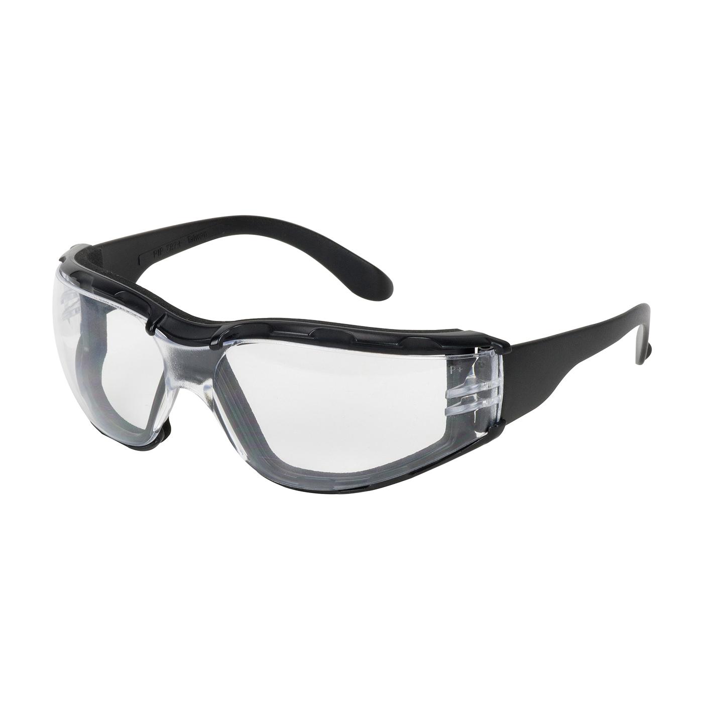 Bouton® 250-01-F020 Zenon Z12™ Foam 250-01 Single Lens Safety Glasses, Anti-Fog/Anti-Scratch, Clear Lens, Rimless Frame, Black, Polycarbonate Frame, Polycarbonate Lens, ANSI Z87.1+