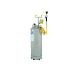 Bradley® S19-690 Pressurized Portable Eye/Face Wash Unit With Drench Hose and Eye Wash, 10 gal Capacity, Stainless Steel Tank, 0.4 gpm Flow Rate, Push Handle Operation, ANSI/ISEA Z358.1