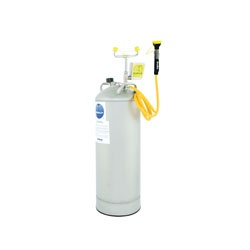 Bradley® S19-788 Pressurized Portable Eye/Face Wash Unit, 15 gal Capacity, Stainless Steel Tank, 0.4 gpm Flow Rate, Push Handle Operation, ANSI/ISEA Z358.1