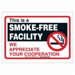 Brady® 103841 Rectangle Smoking Policy Sign, No Header, 10 in H x 14 in W, Black/Red on white, B-401 High Impact Polystyrene, Hole Mounting