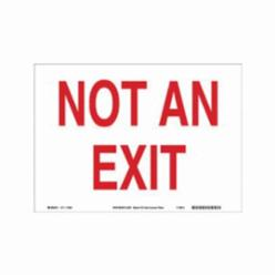 Brady® 116083 Rectangle Exit Sign, No Header, 10 in H x 14 in W, Red on white, B-586 Paper, Surface Mounting