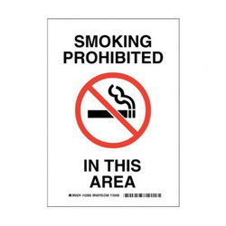 Brady® 123905 Laminated Rectangle No Smoking Sign, No Header, 10 in H x 7 in W, Black/Red on white, B-302 Polyester, Surface Mounting