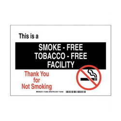 Brady® 123931 Rectangle No Smoking Sign, No Header, 10 in H x 14 in W, Black/Red on white, B-401 High Impact Polystyrene, Surface Mounting