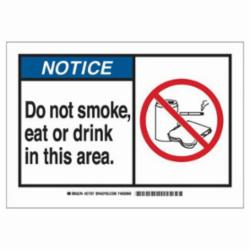 Brady® 21707 Rectangle Safety Sign, NOTICE, 7 in H x 10 in W, Black/Blue on white, B-401 High Impact Polystyrene, Surface Mounting