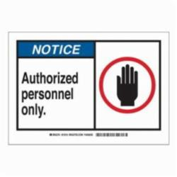 Brady® 21810 Rectangle Safety Sign, NOTICE, 7 in H x 10 in W, Black/Blue on white, B-401 Plastic, Surface Mounting
