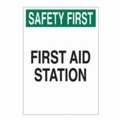 Brady® 22647 Rectangle First Aid Sign, SAFETY FIRST, 14 in H x 10 in W, Green/Black on white, B-401 Plastic, Surface Mounting