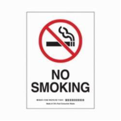 Brady® 25119 Rectangle No Smoking Sign, No Header, 10 in H x 7 in W, Black/Red on white, Polystyrene, Corner Hole Mounting