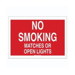 Brady® 25127 Rectangle No Smoking Sign, No Header, 7 in H x 10 in W, White on red, B-401 High Impact Polystyrene, Surface Mounting