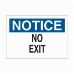 Brady® 25761 Rectangle Exit and Directional Sign, NOTICE, 7 in H x 10 in W, Black/Blue on white, B-401 Plastic, Surface Mounting